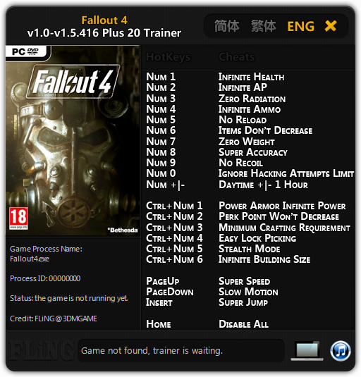 Fallout 4: Trainer (+20) [1.0 - 1.5.416] {FLiNG}