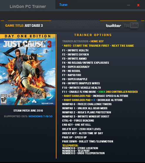 Just Cause 3: Trainer +23 Up 17.06.2016 {LinGon}