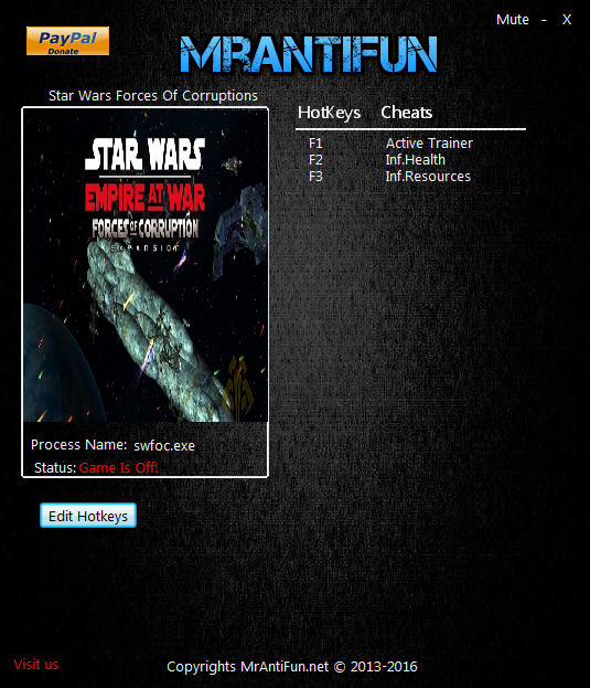 Star Wars: Empire at War - Forces of Corruption: Trainer +2 v1.01.58933 {MrAntiFun}