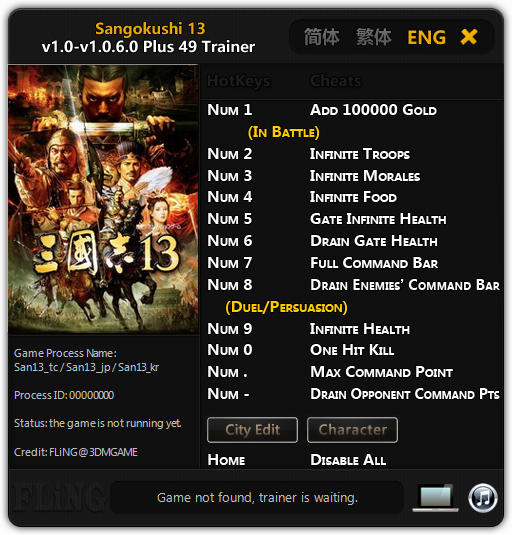 Romance of the Three Kingdoms 13: Trainer +49 v1.0 - 1.0.6.0 {FLiNG}