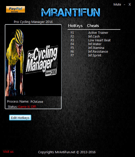 Pro Cycling Manager 2016: Trainer +6 v1.1.0.1 {MrAntiFun}