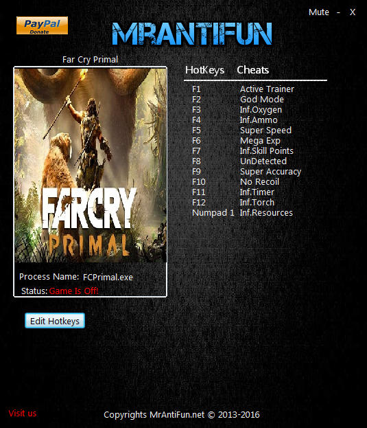 Far Cry: Primal: Trainer +12 v1.3.3 {MrAntiFun}