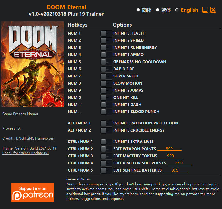 DOOM Eternal: Trainer +19 v1.0 {FLiNG}