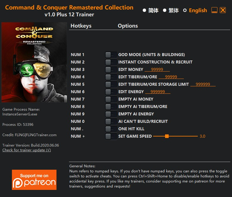 Command and Conquer Remastered Collection: Trainer +12 v1.0 {FLiNG}