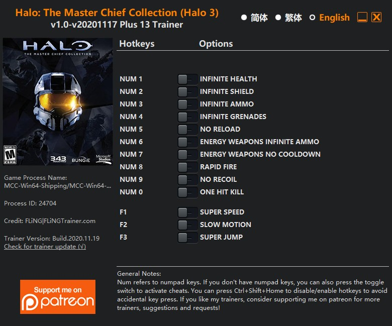 Halo: The Master Chief Collection (Halo 3) - Trainer +13 v1.0 {FLiNG}