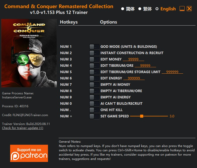 Command and Conquer Remastered Collection: Trainer +12 v1.0-v1.153 {FLiNG}