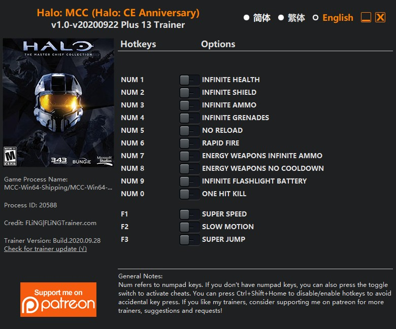 Halo: The Master Chief Collection (Halo: CE Anniversary) - Trainer +13 v1.0-v20200922 {FLiNG}