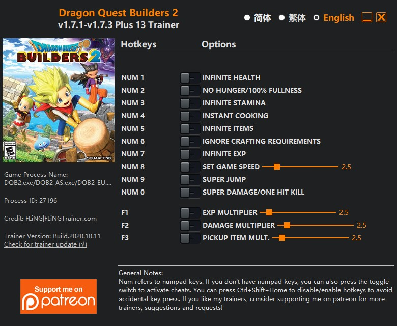 Dragon Quest Builders 2: Trainer +13 v1.7.1-v1.7.3 {FLiNG}