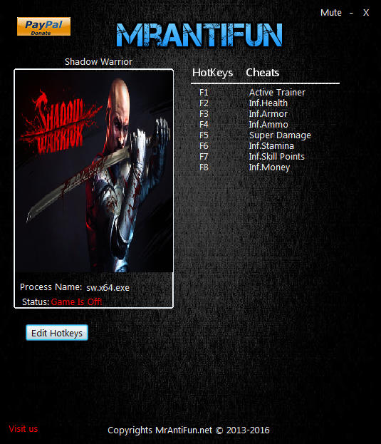 Shadow Warrior (2013): Trainer (+7) [1.5.0.0] {MrAntiFun}