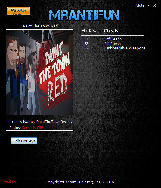 Paint The Town Red: Trainer +3 v0.5 64bit {MrAntiFun}