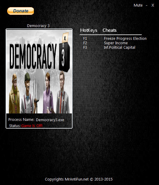 Democracy 3: Trainer (+3) [1.28] {MrAntiFun}