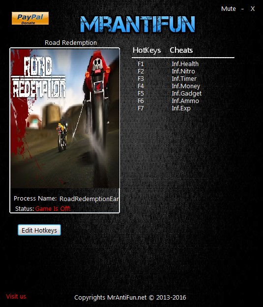 Road Redemption - EarlyAccess: Trainer (+6) [06.28.2016 - 64bit] {MrAntiFun}