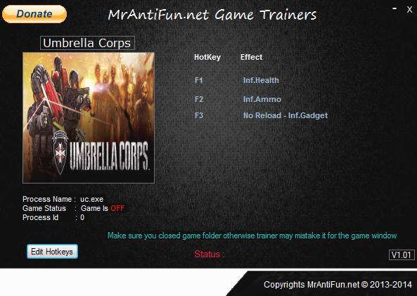 Umbrella Corps: Trainer +4 v1.02 {MrAntiFun}