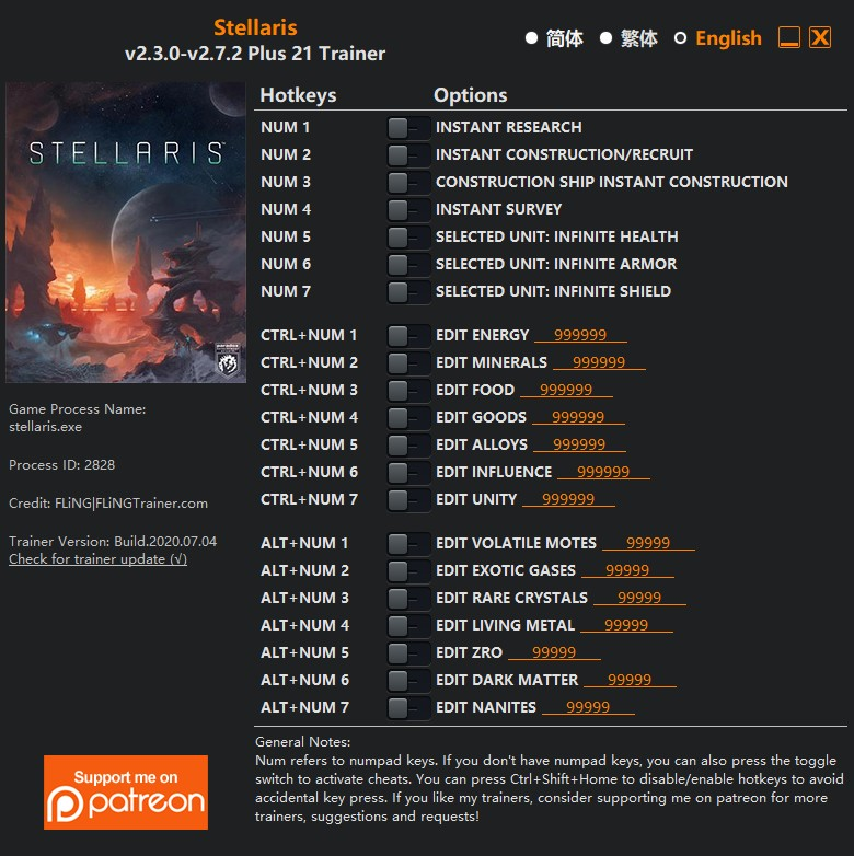 Stellaris: Trainer +11 v1.0 - 1.2.0 {FLiNG}