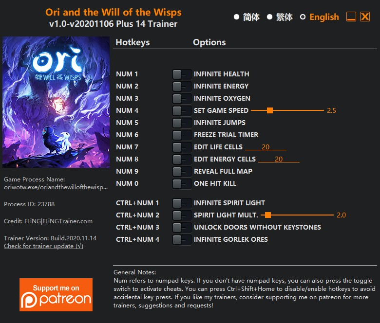 Ori and the Will of the Wisps: Trainer +14 v1.0-v20201106 {FLiNG}