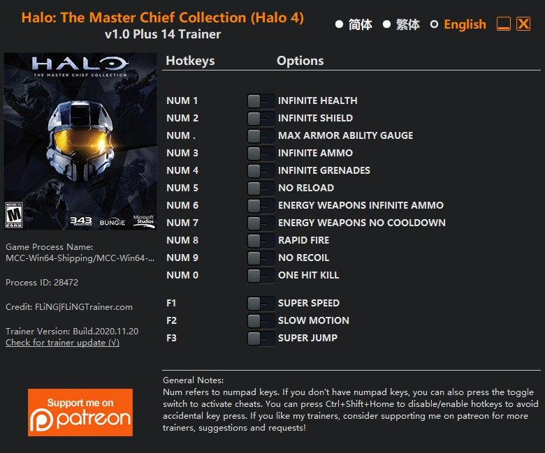 Halo: The Master Chief Collection (Halo 4) - Trainer +14 v1.0 {FLiNG}