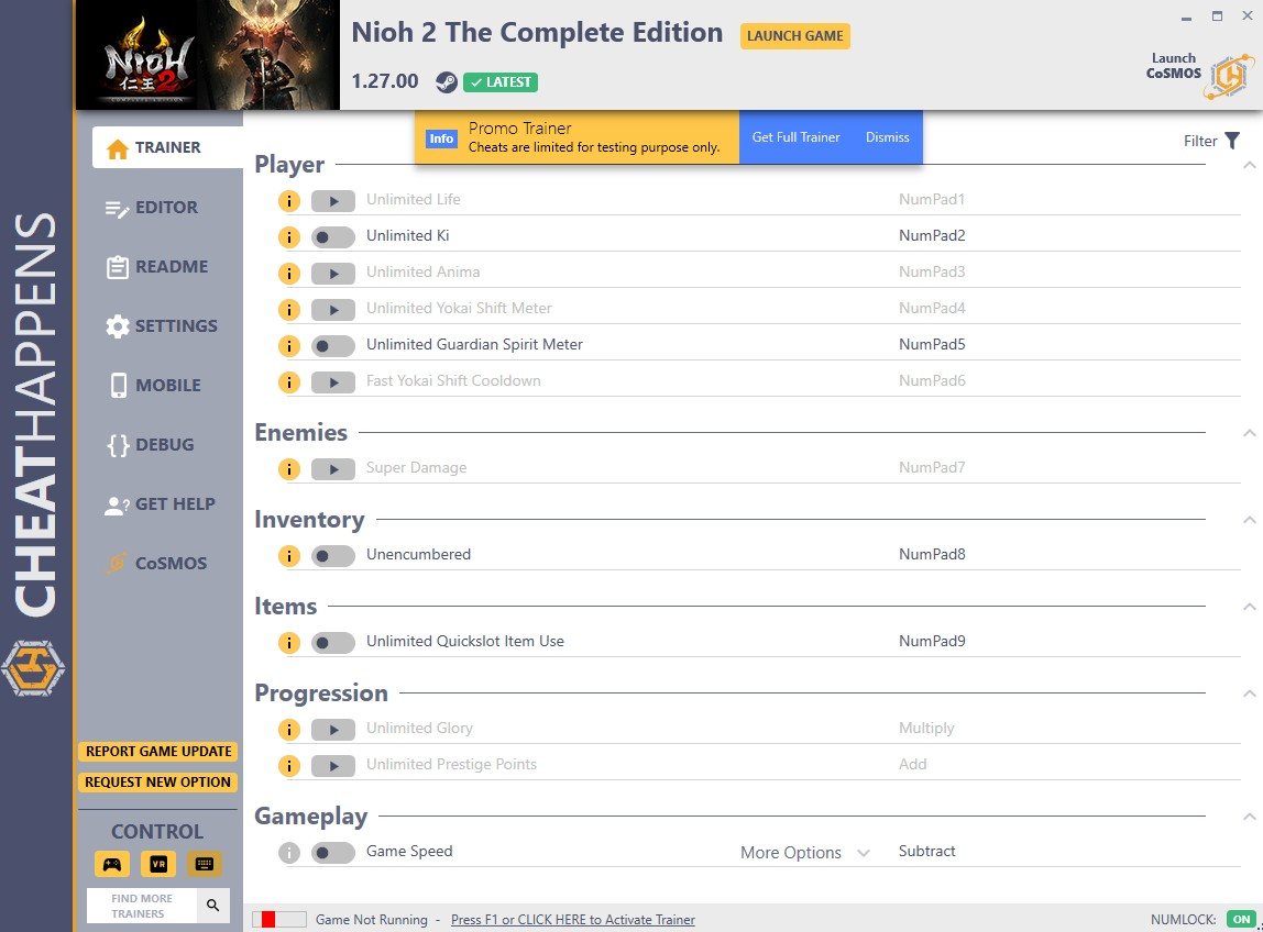 NioH 2 The Complete Edition: Trainer +57 v1.27.00 {CheatHappens.com}
