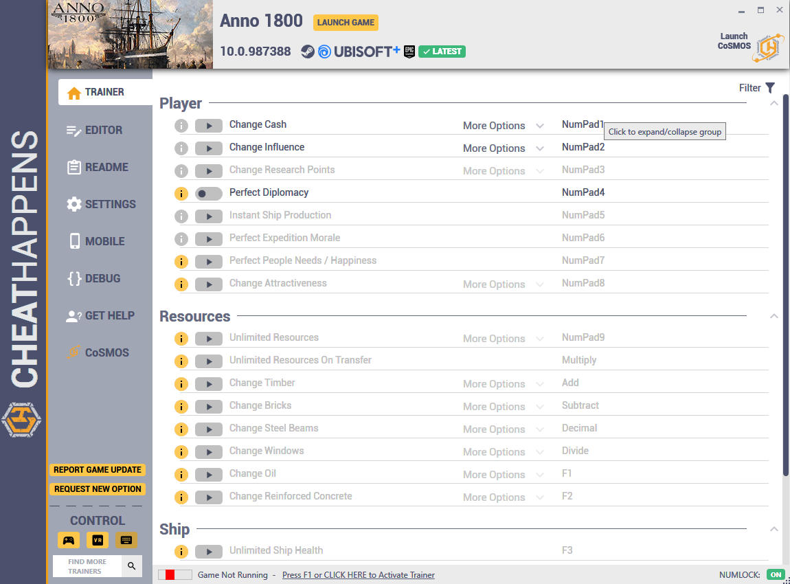 Anno 1800: Trainer +57 v10.0.987388 (UPLAY + STEAM + EPIC + UPLAY PLUS 12.03.2020) {CheatHappens.com}