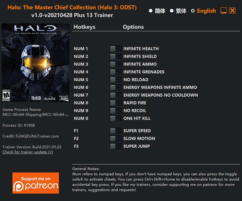 Halo: The Master Chief Collection (Halo 3: ODST) - Trainer +13 v1.0-v20210428 {FLiNG}